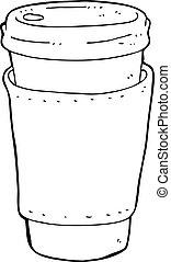koffie, spotprent, kop