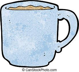 koffie, spotprent, mok
