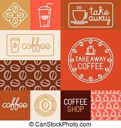 koffie stel, huisen, vector, ontwerp, winkels, communie