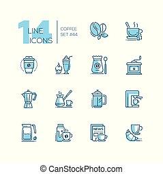 koffie stel, iconen, -, stijl, ontwerp, lijn