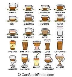 koffie stel, illustration., kleurrijke, vrijstaand, vector, white., pictogram