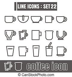 koffie stel, kop, meetkunde, recht, iconen, lijnen, moderne, bochten, vector, zwarte achtergrond, ontwerp, lijn, stijl, witte , communie