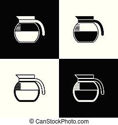 koffie stel, schets, iconen, pot, vrijstaand, illustratie, achtergrond., vector, black , lijn, witte , icon., lineair