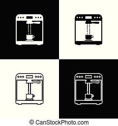 koffie stel, schets, kop, iconen, vrijstaand, illustratie, machine, achtergrond., vector, black , lijn, witte , icon., lineair