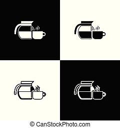 koffie stel, schets, kop, pot, iconen, vrijstaand, illustratie, achtergrond., vector, black , lijn, witte , icon., lineair