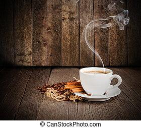 koffie, stilleven, met, kosteloos, ruimte, voor, tekst