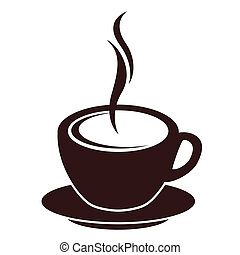 koffie, stoom, silhouette, witte kop