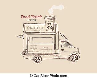 koffie, straat etenswaar, trekken, illustratie, hand, vector, vrachtwagen, ontwerp, van.