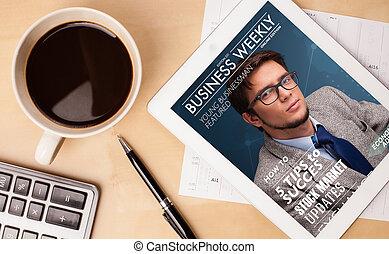 koffie, tablet, kop, houten, het tonen, werken, dekking, ...