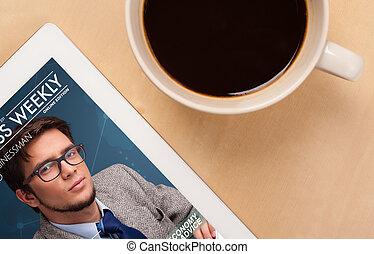 koffie, tablet, kop, houten, het tonen, werken, dekking, close-up, pc, magazine, werkplaats, tafel