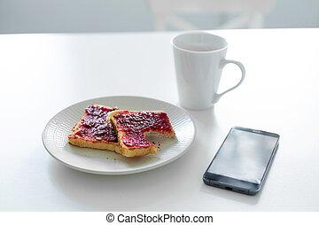 koffie, tafel., volgende, telefoon, ontbijt, roosteren, kop, kers, jam