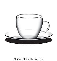 koffie, thee, vector, lege, kop