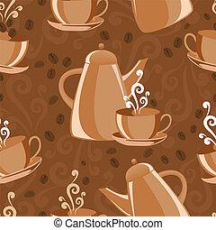 koffie, thema, achtergrond, seamless