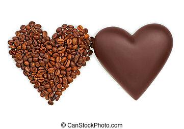 koffie, twee, chocolade, bonen, achtergrond, hartjes, witte