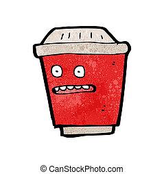 koffie, uit, karakter, nemen, spotprent