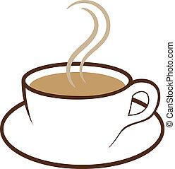 koffie, vector, kop
