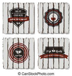 koffie, vector, oud, etiketten, hout, achtergrond
