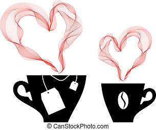 koffie, vector, thee