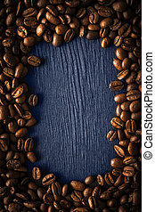 koffie, verticaal, frame, donker, boon, achtergrond