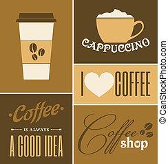 koffie, verzameling, retro