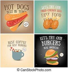 koffie, voedingsmiddelen, vasten, ijs, affiches, room