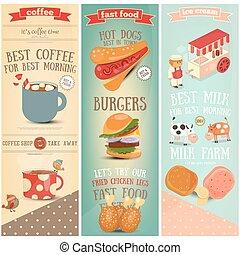 koffie, voedingsmiddelen, vasten, ijs, banieren, room