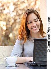 koffie, vrouw, kop, draagbare computer, zittende , computer