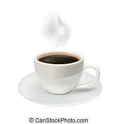 koffie, witte achtergrond, kop