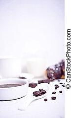 koffie, witte , closeup, boon, achtergrond