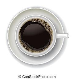 koffie, witte , vrijstaand, kop