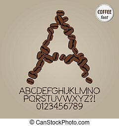 koffie, zaden, alfabet, en, cijfer, vector