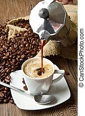 koffie, zak, bonen, kop, tafel, geroosterd, burlap, rustiek
