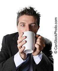koffie, zakelijk, kop, caffeine, gek, bezorgd, verslaafde,...