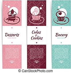 koffiehuis, banieren, set, menu, bakkerij, cupcakes., ouderwetse , restaurant