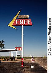 koffiehuis, meldingsbord, langs, historisch, route 66