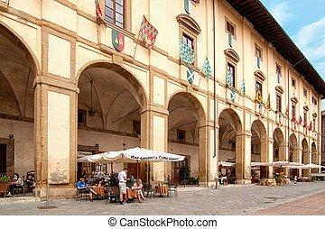 koffiehuis, -, schilderachtig, hoekje, van, tuscany
