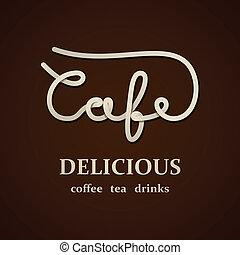 koffiehuis, vector, ontwerp, mal, calligraphic