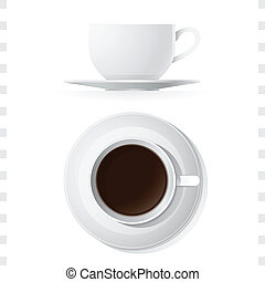 koffiekop, bovenzijde, iconen, zijaanzicht