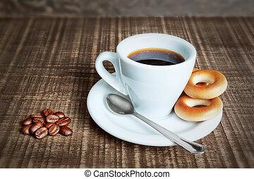 koffiekop, houten, bagels., cracknels, achtergrond., bonen, bakt