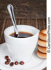 koffiekop, houten, bagels., lepel, droog, achtergrond, texture.
