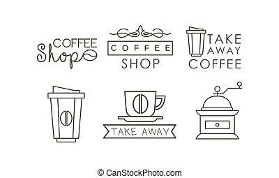 koffiekop, iconen, set, etiketten, grinder, illustratie, vector, achtergrond, takeaway, lijn, witte , kentekens