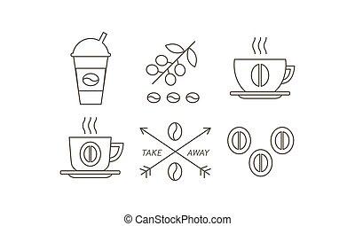 koffiekop, iconen, set, illustratie, papier, achtergrond., vector, takeaway, bonen, lijn, witte