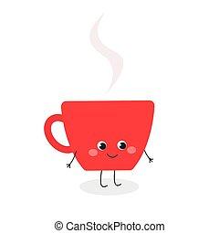 koffiekop, karakter, illustratie, spotprent, schattig, vector