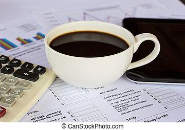 koffiekop, met, financiën, tabel