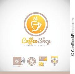 koffiekop, ontwerp, logo, badge, pictogram