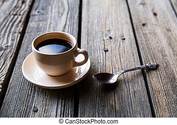 koffiekop, op, wooden table, achtergrond, aanzicht