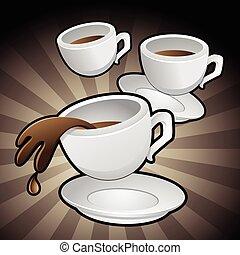koffiekopjes, kunst, klem