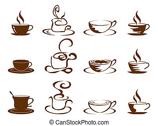 koffiekopjes, set, pictogram