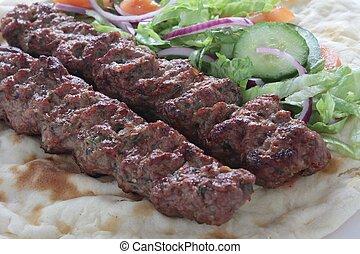 kofte, naan, kofta, chiche-kebab shish