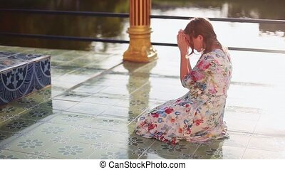 koh, женщина, колени, солнце, молодой, shining., prays, plai, таиланд, laem, complex., wat, религиозная, храм, 1920x1080, samui